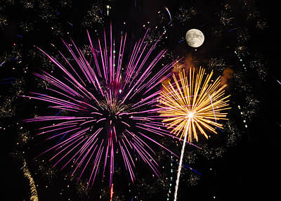 Photograph - Watching Pink And Gold Explosion - Fireworks And Moon II by Penny Lisowski