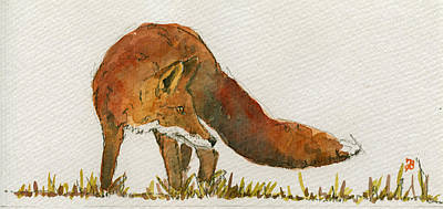 Orange Painting - Watching Red Fox by Juan  Bosco