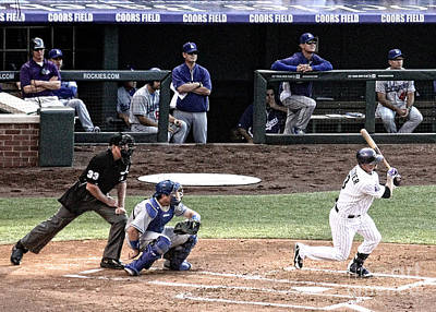 Coors Field Photograph - Watching The Ball by Bob Hislop