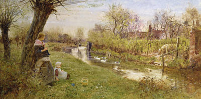 Knitting Painting - Watching The Ducks by Thomas James Lloyd