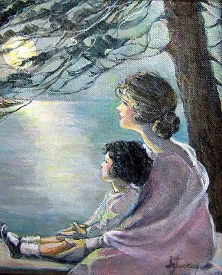 Watching The Moon Art Print by Donna Tucker