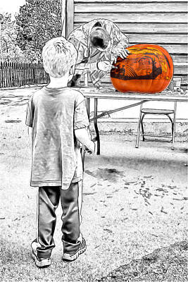 Mixed Media - Watching The Pumpkin Carver by John Haldane