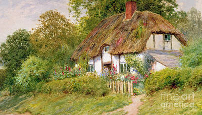 Charming Cottage Painting - Watching The Sheep by Arthur Claude Strachan