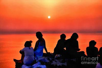 Painting - Watching The Sunset In Oia by George Atsametakis