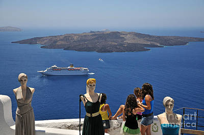 Woman Photograph - Watching The View In Santorini Island by George Atsametakis
