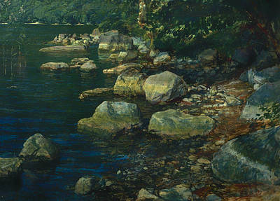 Beautiful Creek Painting - Water And Stones Near Palazzuola by Mountain Dreams