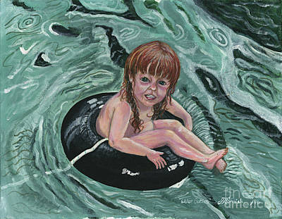 Floating Girl Painting - Water Babies by Janis  Cornish