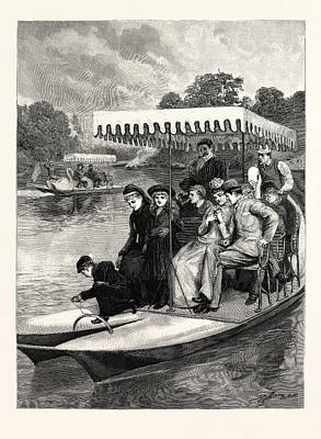 Water Play Drawing - Water Bicycles On The Lake In The Central Park by American School