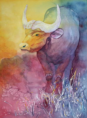 Art Print featuring the painting Water Buffalo by Nancy Jolley