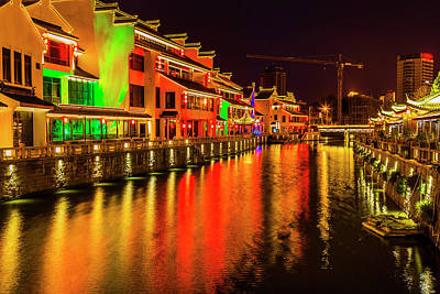 Canal Walk Photograph - Water Canal Near Nanchang Temple Wuxi by William Perry