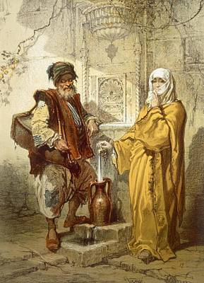 Water-carrier, 1865 Art Print by Amadeo Preziosi