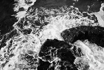 Water Crashing Over Rocks On Ballycastle Beach In Winter County Antrim Northern Ireland Art Print by Joe Fox