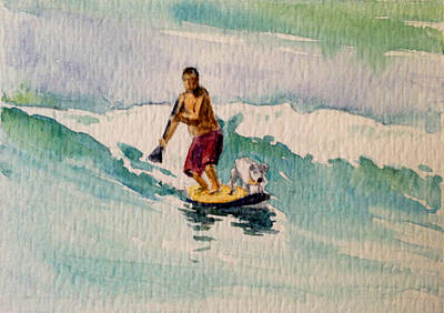Haleiwa Painting - Water Dog Maui by Stacy Vosberg