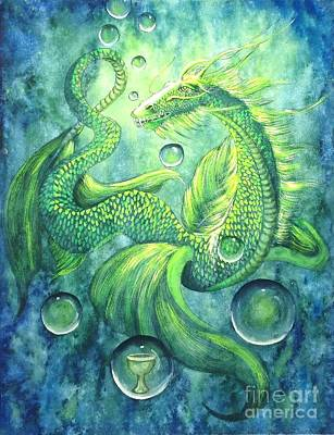 Louisa Painting - Water Dragon Common Sense Clarity by Louisa Poole