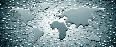 Cartography Photograph - Water Drops Forming Continents by Panoramic Images