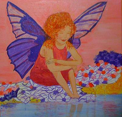 Art Print featuring the painting Water Fairy by Judi Goodwin
