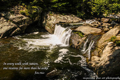 Water Fall With John Muir Quote Art Print