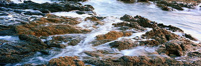 Water Flowing Through Rocks At Coast Art Print