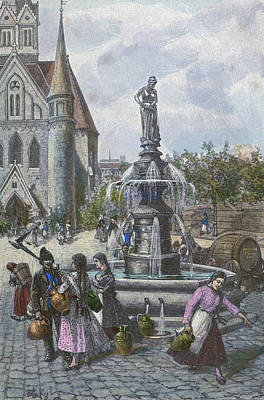 Water Jug Drawing - Water Fountain In Szeged Hungary by Hungarian School
