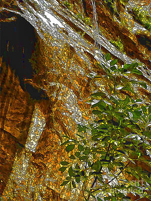 Overhang Digital Art - Water From Rock-dp by Nancy Marie Ricketts