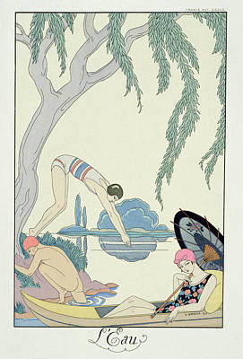 Skinny Dipping Painting - Water by Georges Barbier