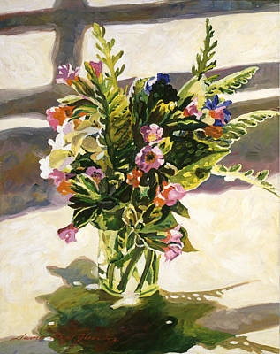Glass Top Tables Painting - Water Glass Flowers by David Lloyd Glover