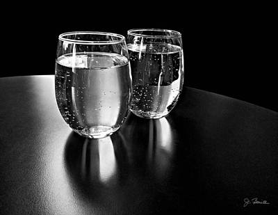 Photograph - Water Glasses In Black And White by Joe Bonita