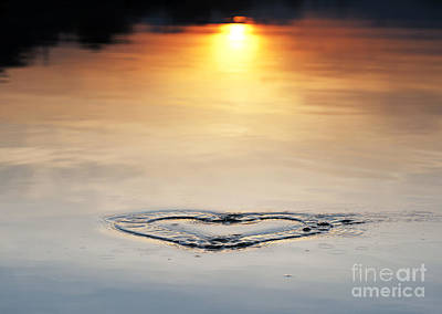 Water Heart Ripple Art Print