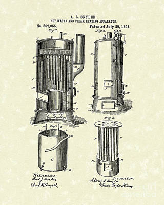 Drawing - Water Heater 1893 Patent Art by Prior Art Design