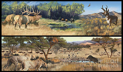 Painting - Water Hole Safari by Rob Corsetti