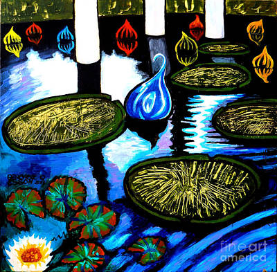 Balck Art Painting - Water Lilies And Chihuly Glass Baubles At Missouri Botanical Garden by Genevieve Esson