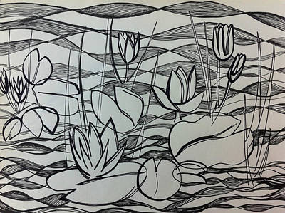 Lily Pad Pond Drawing - Water Lilies by Ashley Grebe