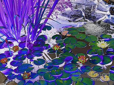 Water Lilies Blue Art Print by Margaret Newcomb