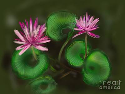 Art Print featuring the digital art Water Lilies by Christine Fournier
