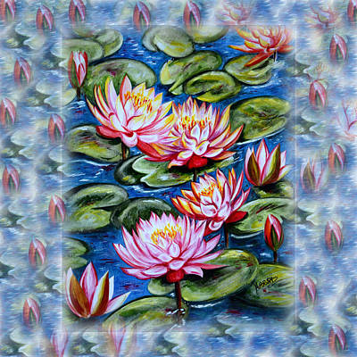 Water Color Painting - Water Lilies Fantasy by Harsh Malik