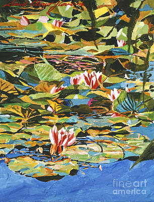 Plein Air Painting - Water Lilies Giverny by David Lloyd Glover