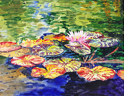 Lilies Royalty-Free and Rights-Managed Images - Water Lilies by Irina Sztukowski