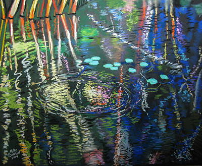 Pastel - Water Lilies by Mike Benton