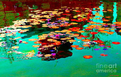 Painting - Water Lilies Pond Pink Lotus And Koi  Beautiful Nympheas Water Garden  Quebec Art Carole Spandau by Carole Spandau