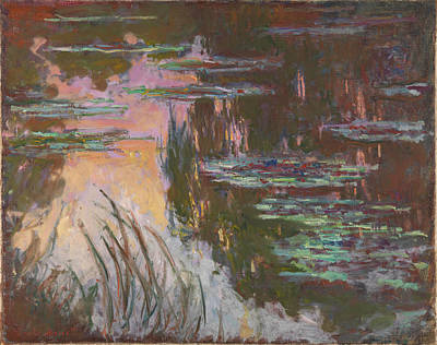 Water-lilies Setting Sun Art Print by Claude Monet