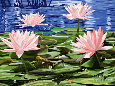 Painting - Water Lilies by Tim Gilliland