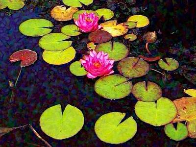 Painting - Water Lilies With Pink Flowers - Horizontal by Lyn Voytershark
