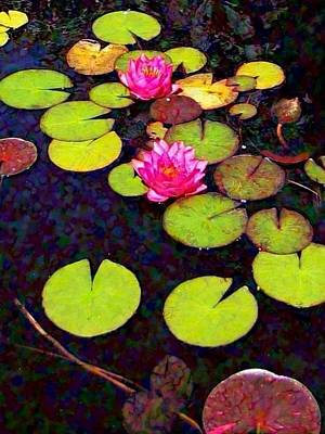 Digital Art - Water Lilies With Pink Flowers - Vertical by Lyn Voytershark