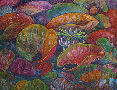 Lilly Pond Painting - Water Lillies And Dragon Fly by Robyn Ryan
