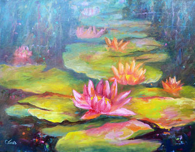 Lilly Pond Painting - Water Lilly Pond by Carolyn Jarvis