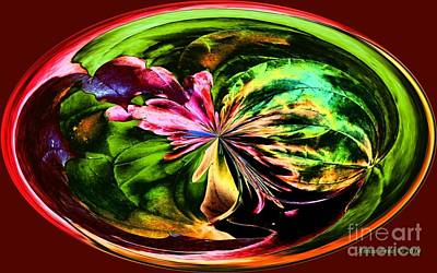 Art Print featuring the digital art Water Lily Abstract Art by Annie Zeno