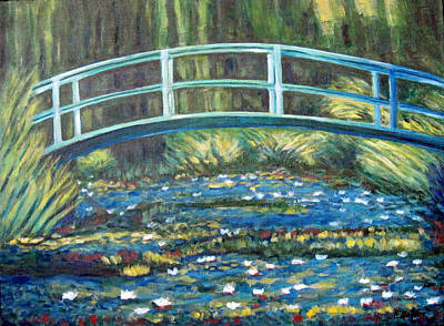 Painting - Water Lily Bridge After Monet by Fran Brooks