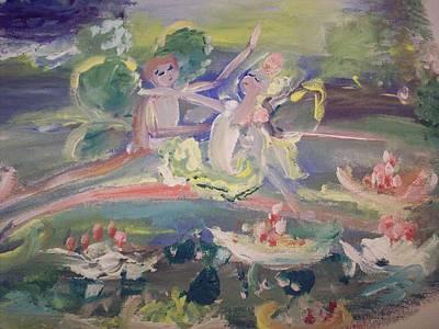 Water Lily Fairies Art Print by Judith Desrosiers