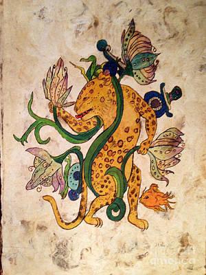 Mayan Jaguar Painting - Water Lily Jaguar by Judith Murphy