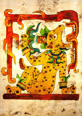 Mayan Jaguar Painting - Water Lily Jaguar With Flames by Judith Murphy
